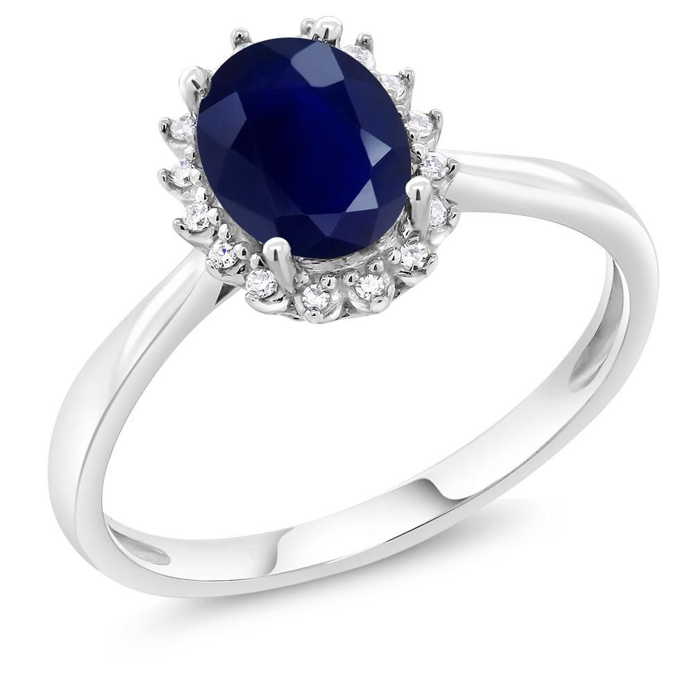 1 80 Ct Oval Blue Sapphire 10k White Gold Ring White Gold Rings Diamond Gemstone White Gold