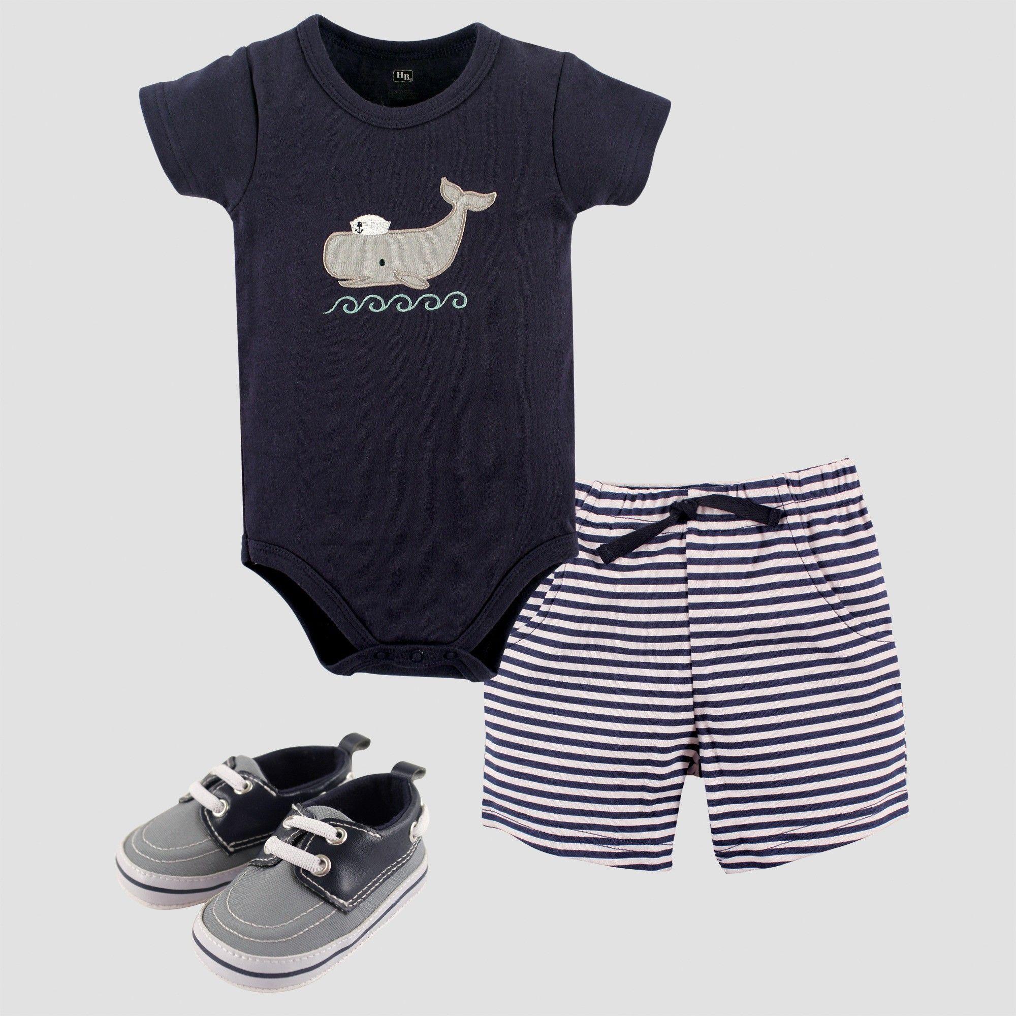 Hudson Baby Boys Bodysuit Shorts and Shoe Set Blue 9 12M Size