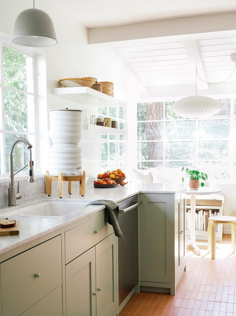 11 Green Kitchen Cabinet Paint Colors We Swear By In 2020 Green Kitchen Cabinets Kitchen Transformation Green Kitchen