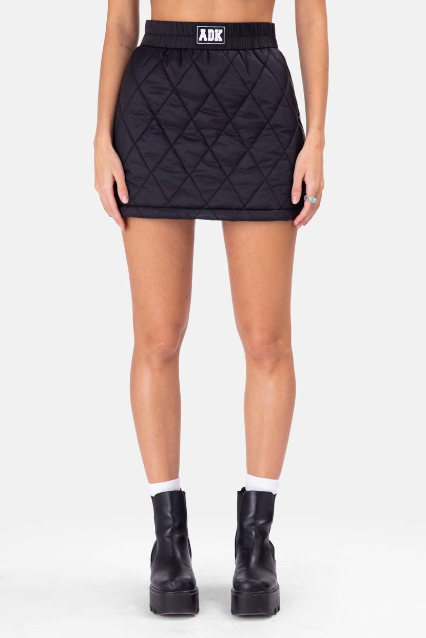 ADK Quilted Mini Skirt - BLACK / XL