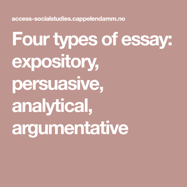 Four Types Of Essay Expository Persuasive Analytical