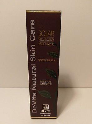 Devita Natural Skin Care Solar Protective Moisturizer Spf 30 2 5 Oz Brand New Mineral Sunscreen Moisturizer Solar Protection