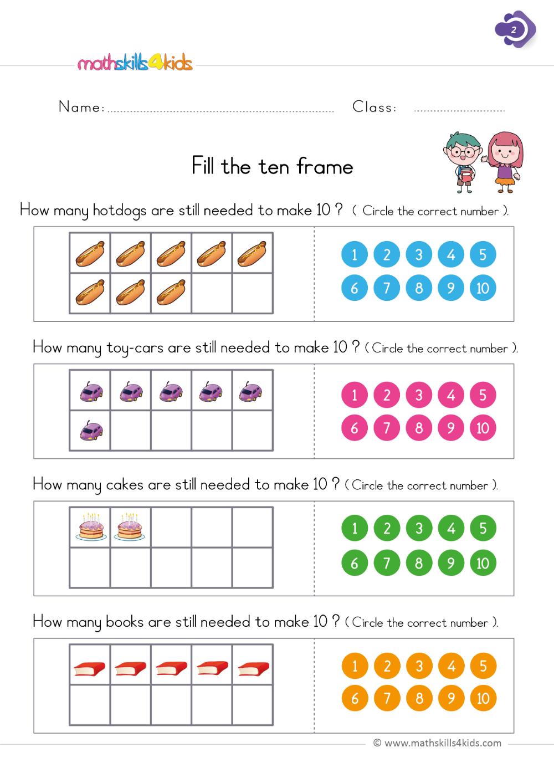 Fill the ten frame First Grade Math Worksheets