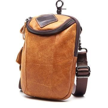 AdoreWe - NewChic Men 6 Inch Vintage Zipper Genuine Leather Phone Bag Crossbody Bag - AdoreWe.com