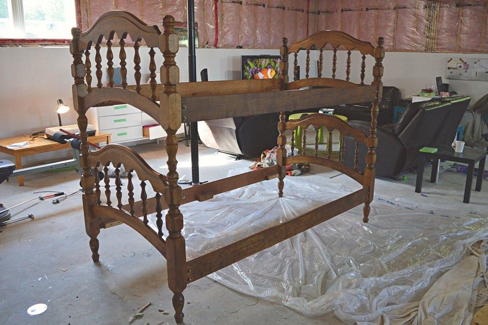 How To Give An Old Spindle Bunk Bed New Life Diy Bunk Beds Faux