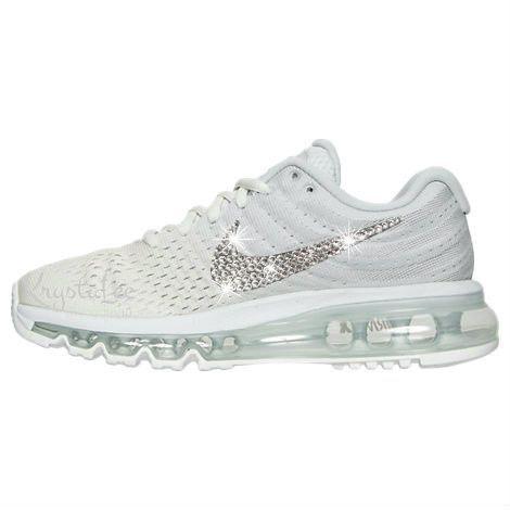 ... lowest price 6866f cb5be Womens Nike Air Max 2017 Phantom White Custom  Bling Crystal Swarovski Sneakers ... bb8874705a