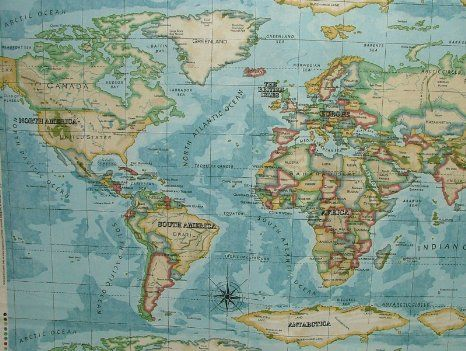 Atlas azure blue map of the world curtain drape fabric sold per yard atlas azure blue map of the world curtain drape fabric sold per yard gumiabroncs Choice Image