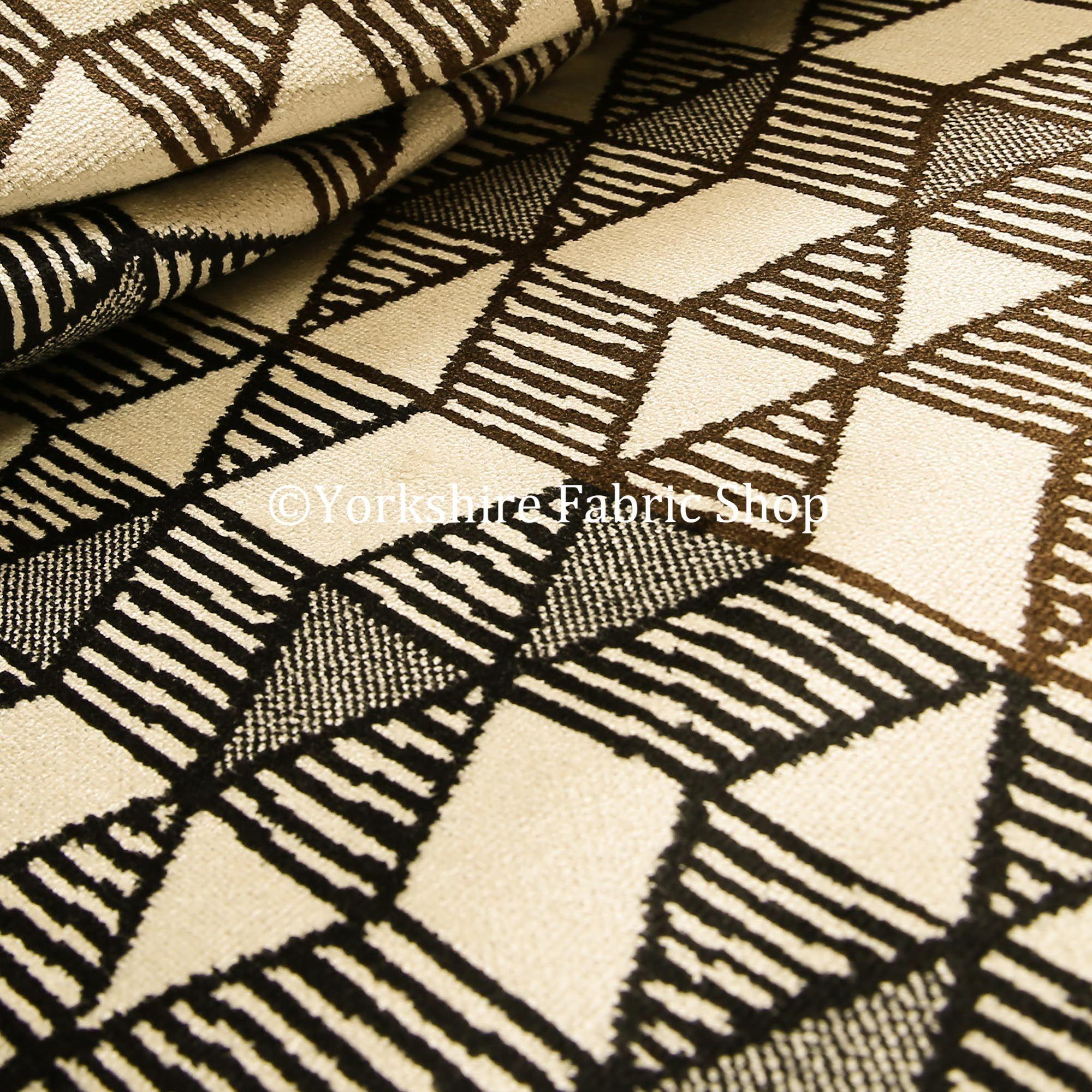 Geometric Triangles Cream Brown Black Colour Velvet Upholstery