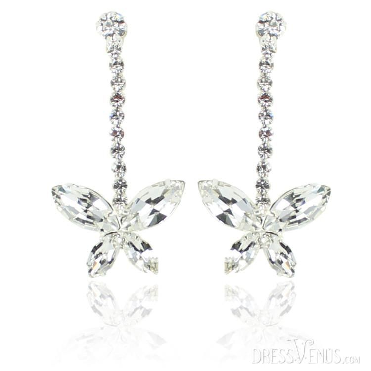 Oneckoha Fashion Ab Color Rhinestone Butterfly Brooch Pin: Butterfly Shaped Alloy With Rhinestone Earrings More