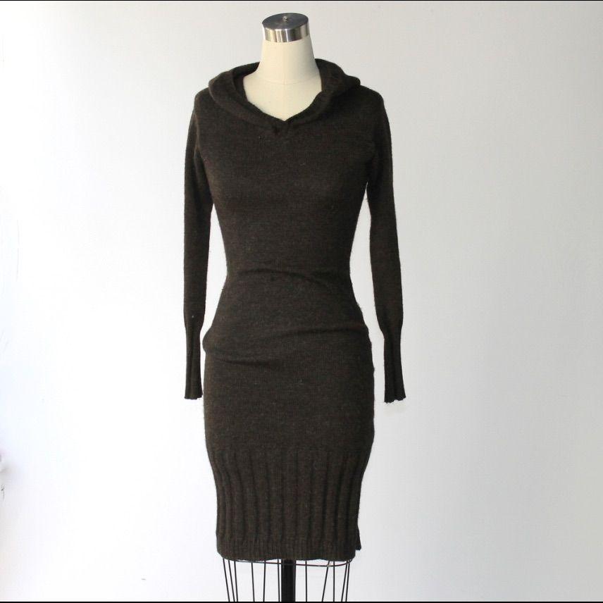 Nwot Gary Graham Alpaca Hooded Sweater Dress