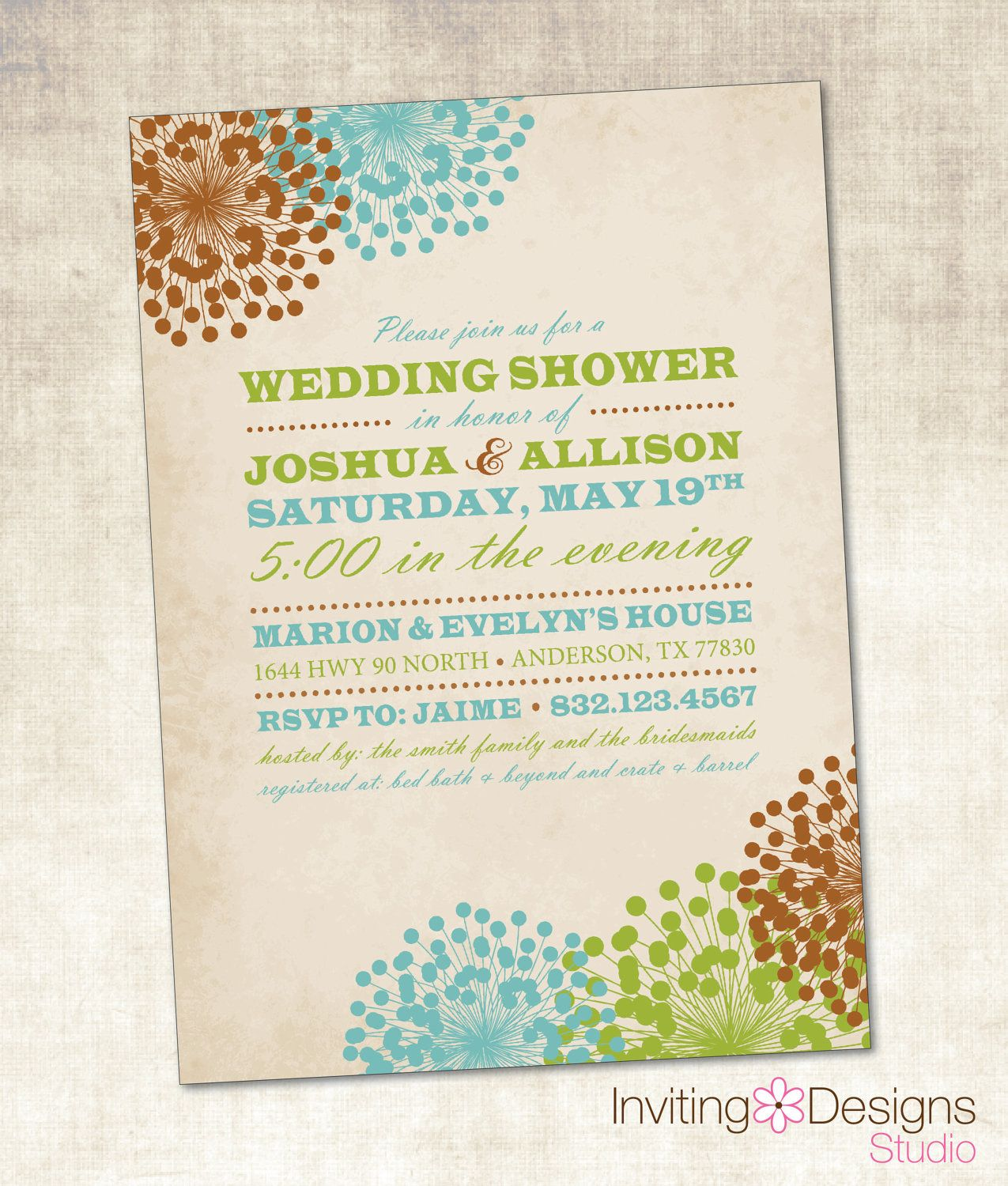 Wedding Shower Invitation (PRINTABLE FILE), Vintage Wedding Shower, Floral. $18.00, via Etsy.