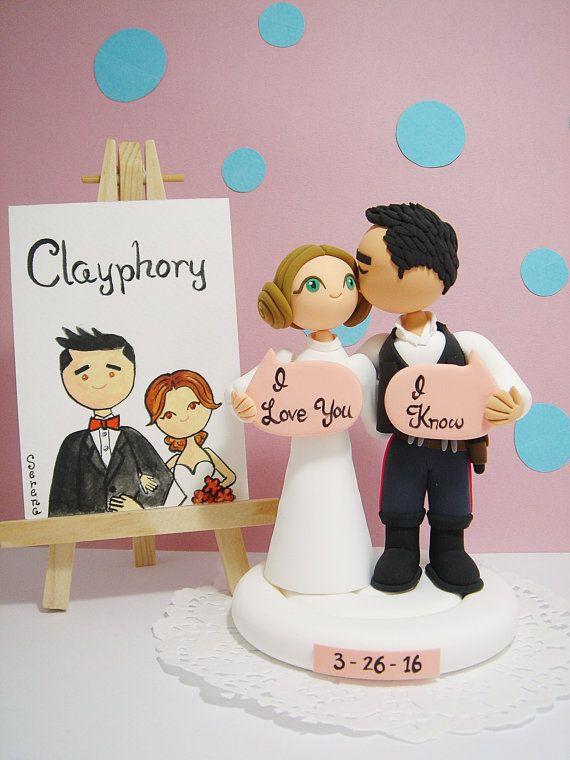 Star Wars Theme Custom Wedding Cake Topper-Han Solo And -5899