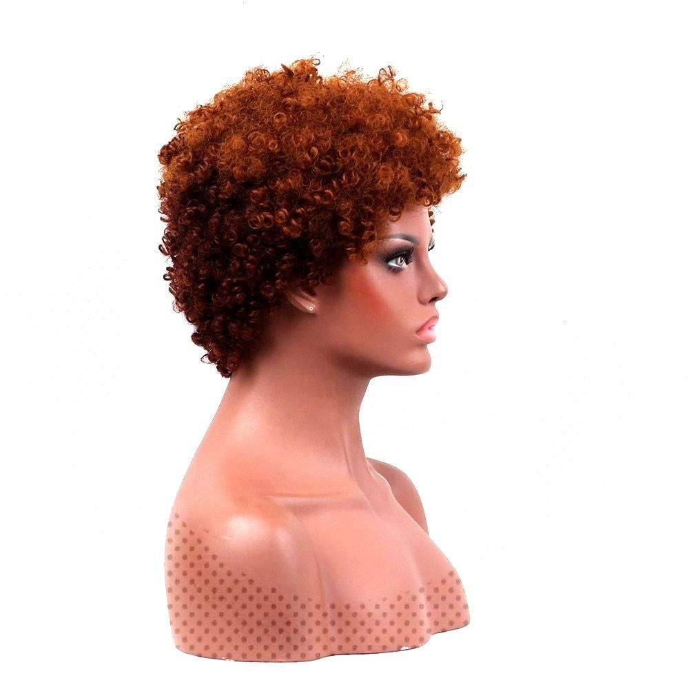 Short Bouffant Two Tone Afro Curly Synthetic Wig ,