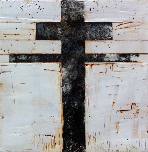 Encaustic Cross on Wood