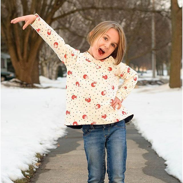The Sötnos is an awesome winter top. Available in 3 styles (Basic Girly and Complete). Finally a well fitting Raglan!  This top was tested and drafted to fit amazingly without a lot of the normal bulk you see in traditionally drafted raglan shirts.  Sized 18m-12.  #linkinprofile #pdfpattern #sewingforkids #makersmovement