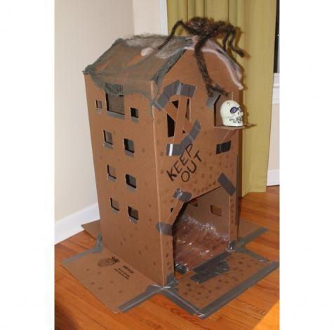 diy halloween diy cardboard haunted house diy halloween decor - Cardboard Halloween Decorations