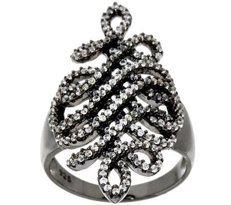 VicenzaSilver Sterling 9/10 ct Diamonique Swirl Ring