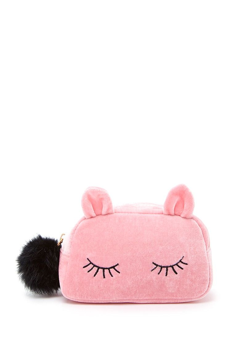Sleeping Cat Velvet Makeup Bag Forever 21 1000176867