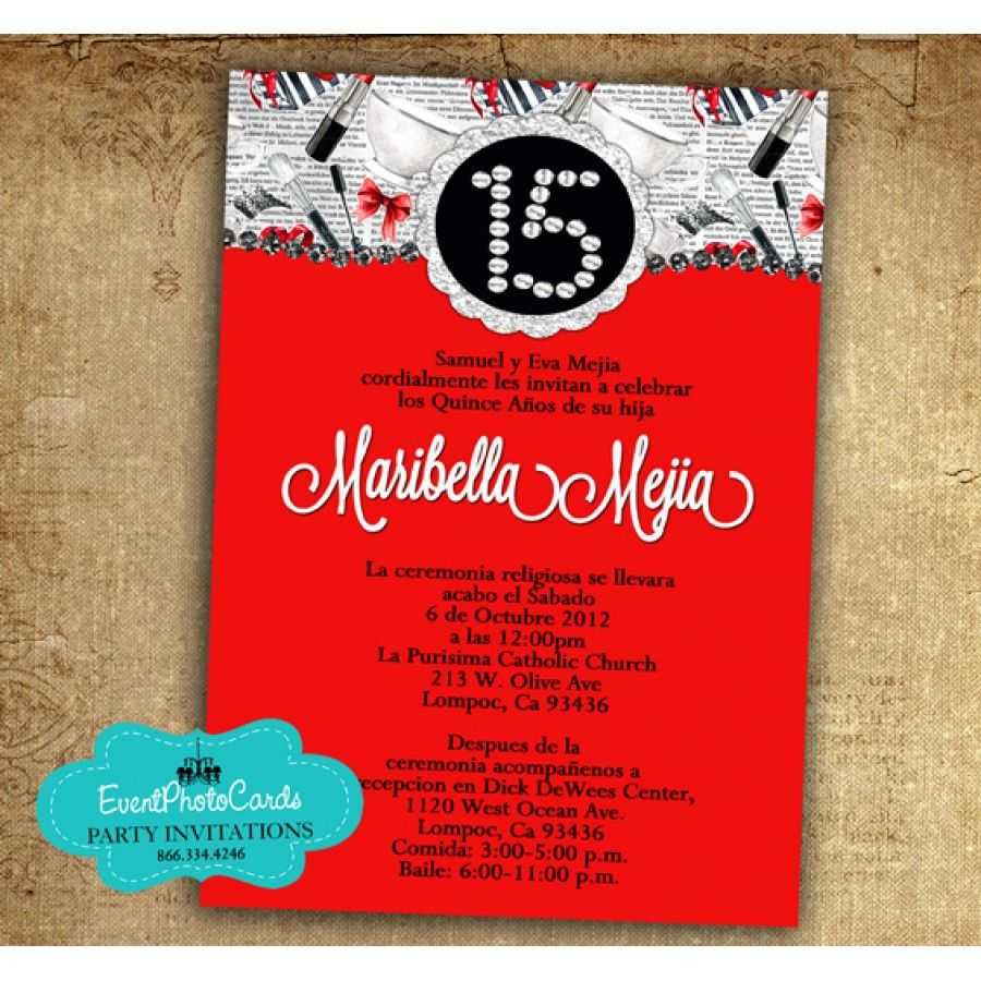 Fashion Red - Sweet 15 Invitations | Paris Quinceanera Party ...