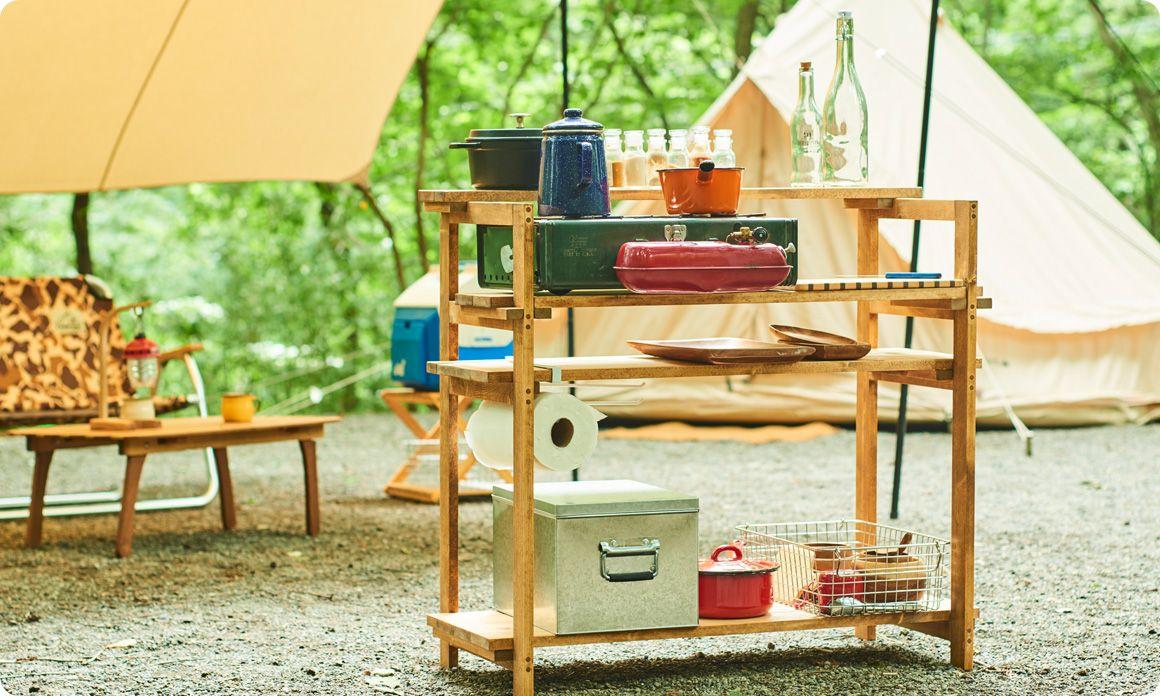 キャンプギアをdiy 変幻自在に使える木製キッチンテーブル Hondaキャンプ キッチンテーブル キャンプ キャンプ テーブル Diy