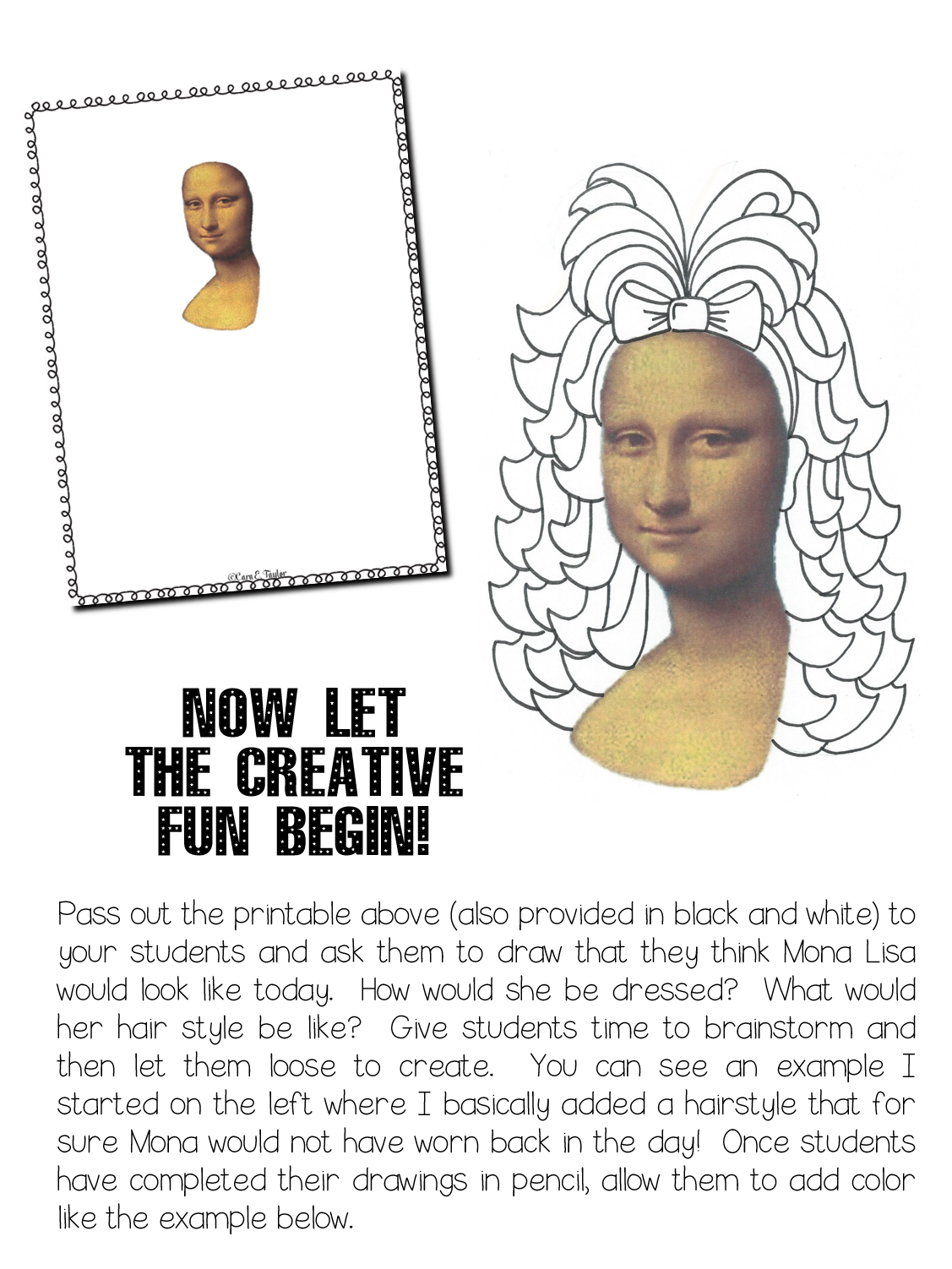 Click Here For The Mona Lisa Printables Above I M Also