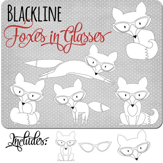 Black And White Clipart Fox Clipart Nerd Clip Art Foxes In Glasses Commercial Use Ok Clip Art Freebies Clip Art Digital Stamps
