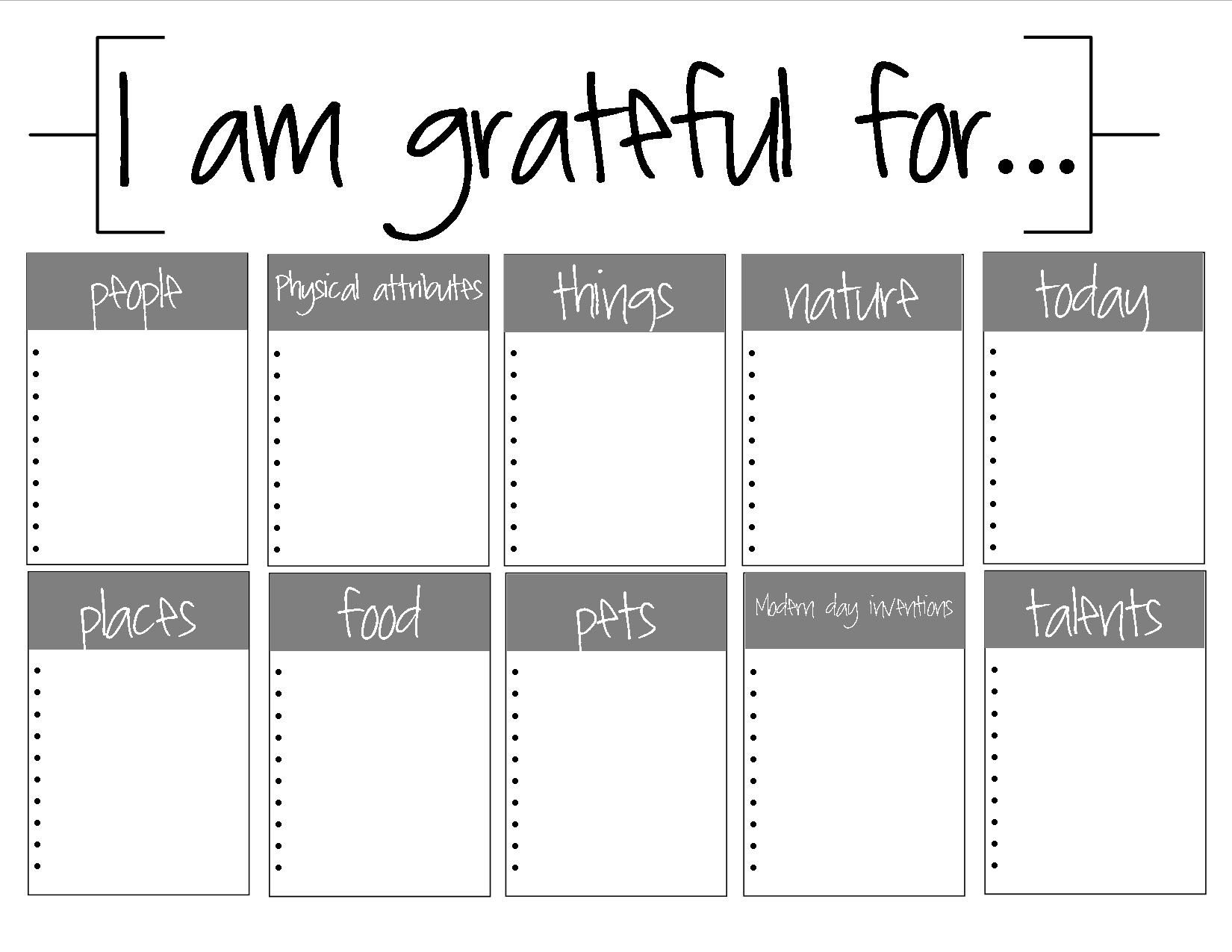 Free Printable 100 Things I Am Grateful For Looks Like A