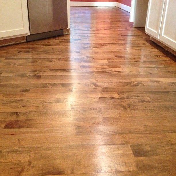 #hardwood #floor #refinish project with #dark #brown #