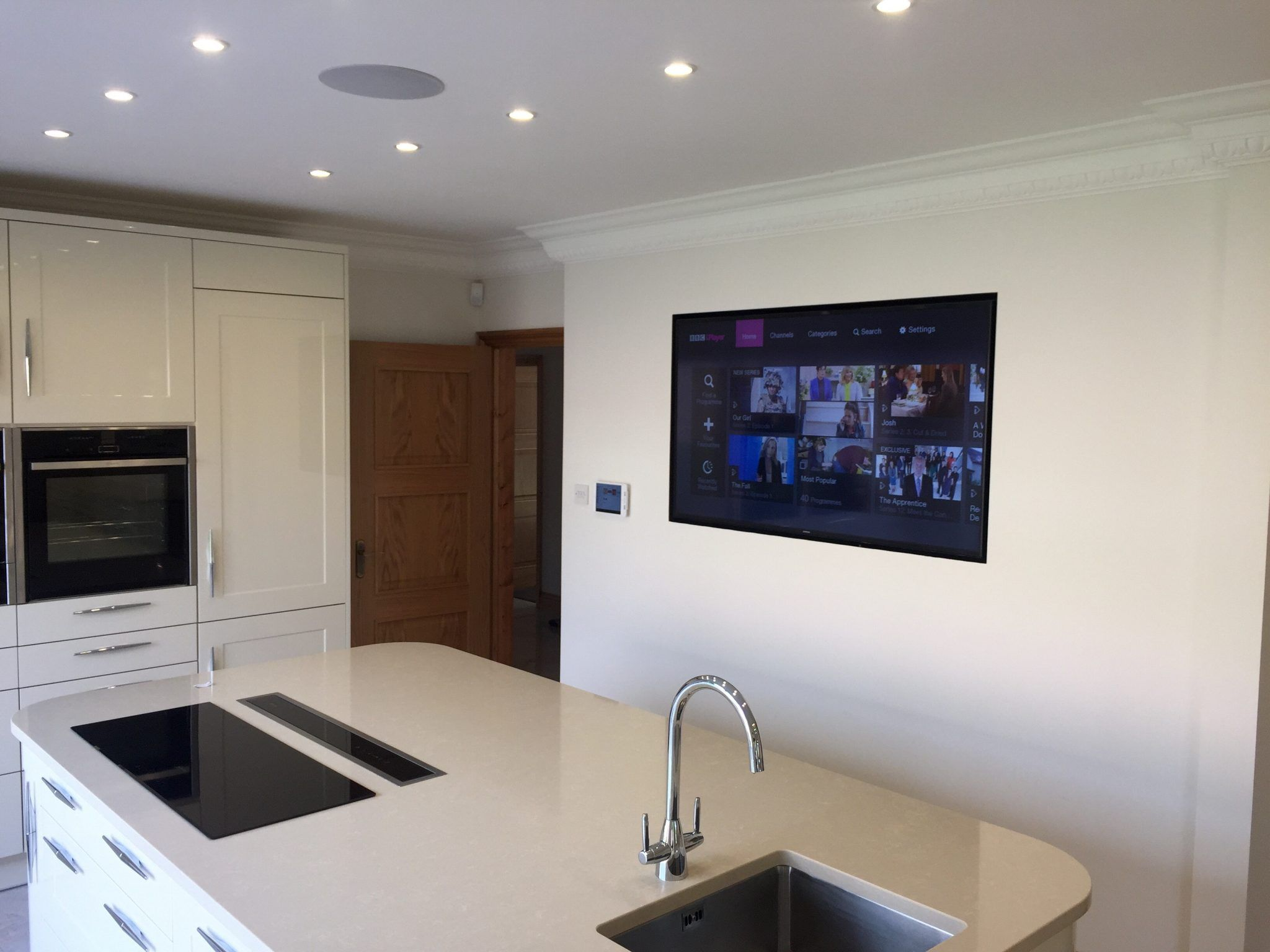 Wall Mounted TV in Kitchen | Tv in kitchen, Wall mounted ...