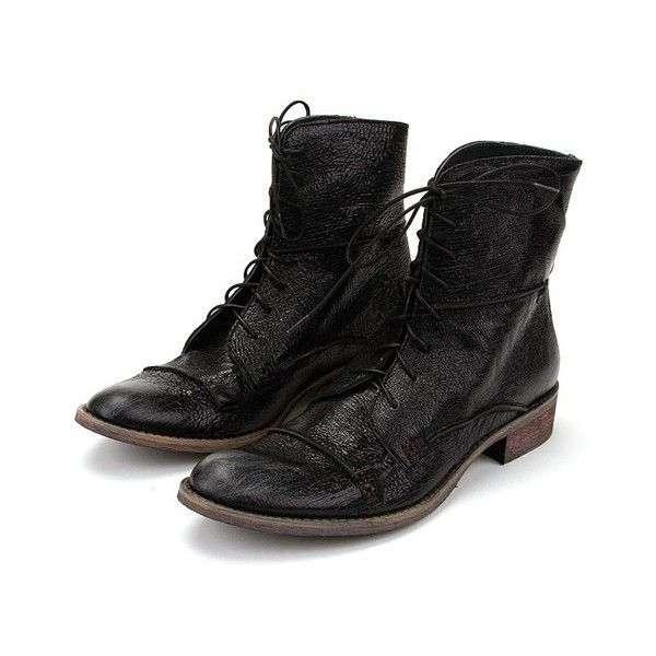 Charles David Randsom ($121) ❤ liked on Polyvore featuring shoes, boots, ankle booties, black, low heel booties, black lace up boots, black low heel booties, vintage lace up boots and black booties