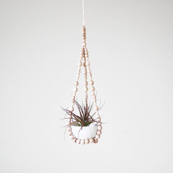 Small Beaded Hanging Planter with Cup / Scandinavian Modern Plant Hanger / Natural Wood Beads via Etsy