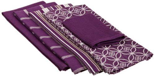 Purle Eggplant 100 Cotton Oversized Basic Dishtowel 5 Piece Set Includes 4 Dishtowels Purpleplum Purplepurple Kitchentowel