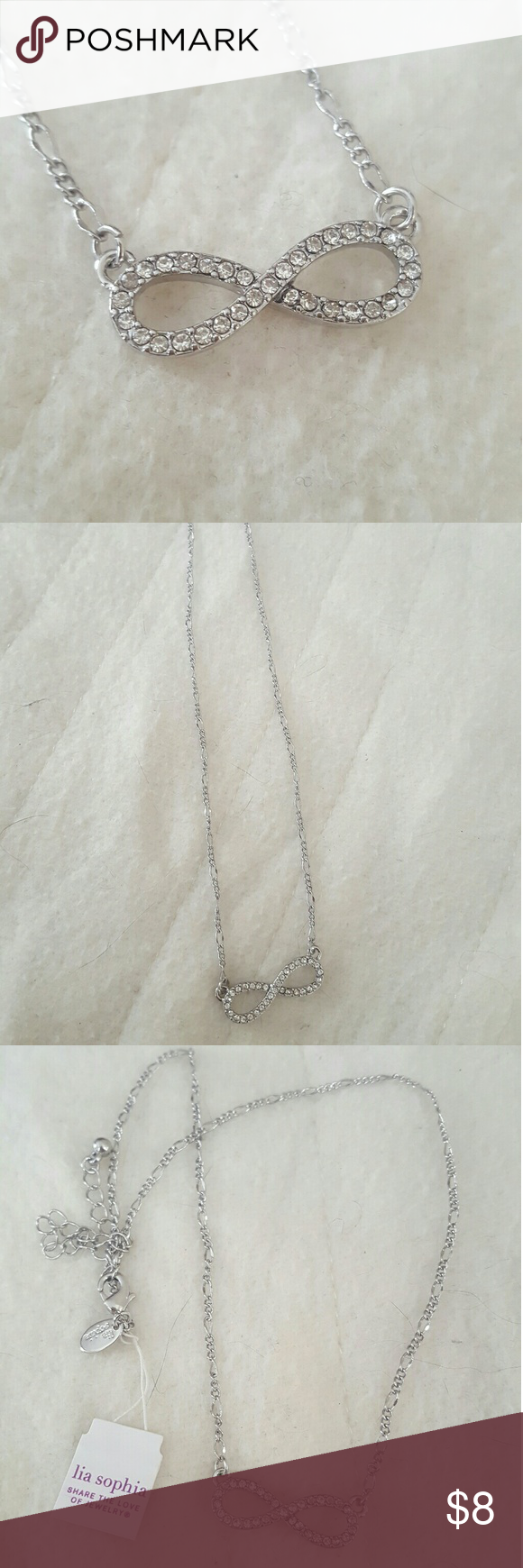 Infinity necklace Silver infinity necklace. Adjustable. Lia Sophia Jewelry Necklaces