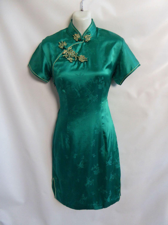 Vintage 50er Jahre Cheongsam Kleid Größe S Smaragd grünen von jdbok ...