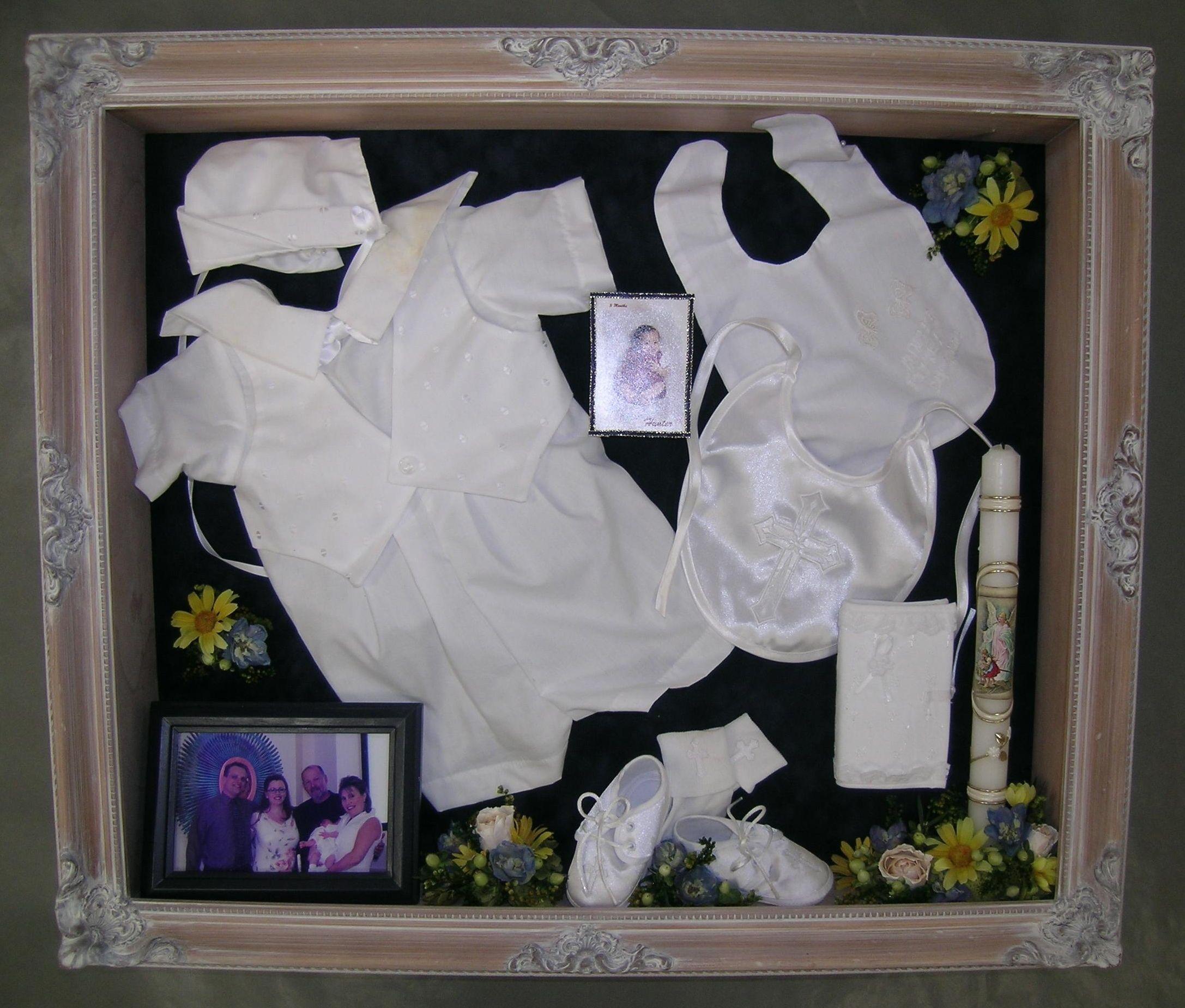 baby baptism christening keepsake shadow box with. Black Bedroom Furniture Sets. Home Design Ideas