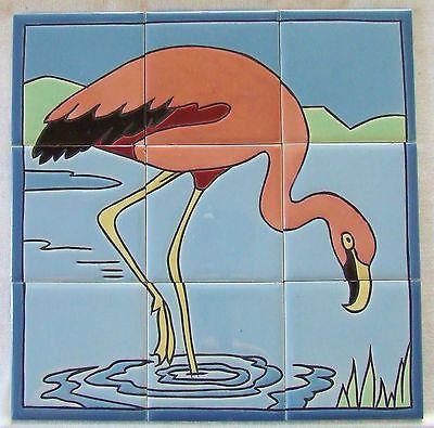 vintage pink flamingo tile panel mosaic tile co.   mosaic