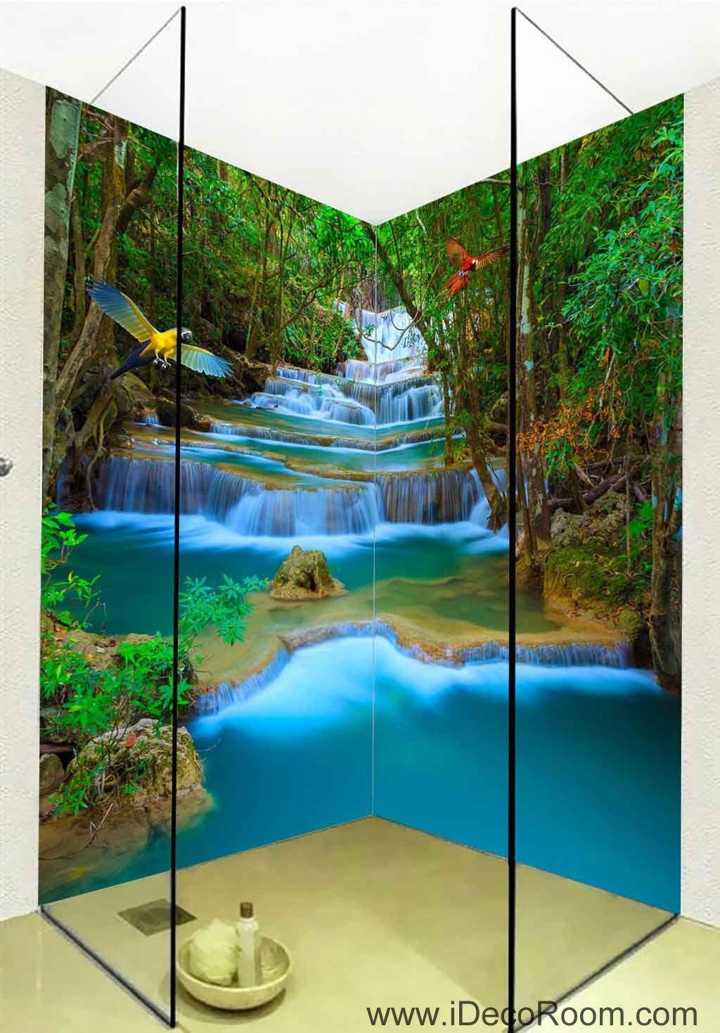3D Wallpaper Forest Fall Blue Brook Birds Wall Murals ...