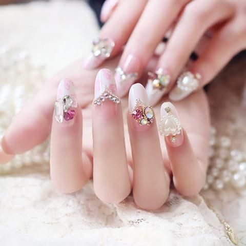 bride crown bowknot false nails 24pcs/set in 2019