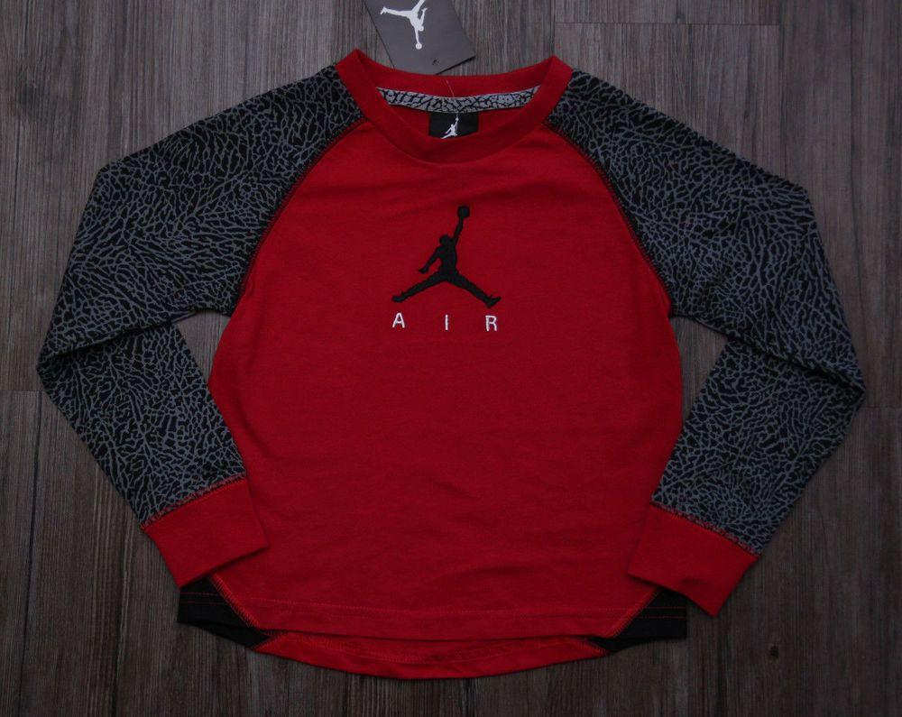8ee34a739a75 Air Jordan Boy Long Sleeve T-Shirt ~ Red
