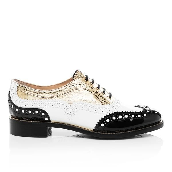Mr. Doubt Black, White & Gold Leather Women's Wingtip Brogue