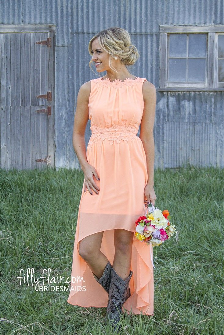 Dresses for a country wedding  Romance in High Low in Peach  A country bridesmaid dress with boots