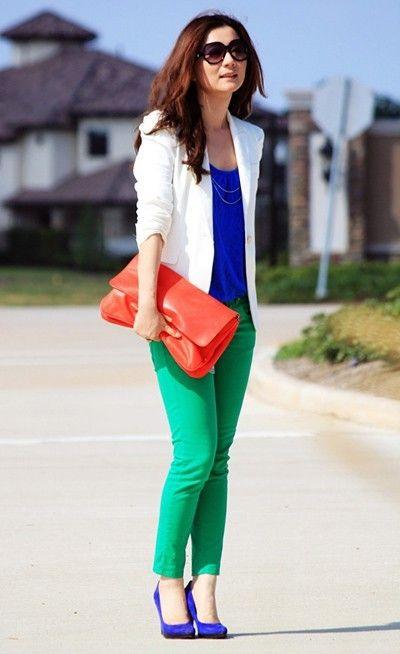 Verde E Azul Trajes De Color Blocking Moda Combinacion Colores Ropa