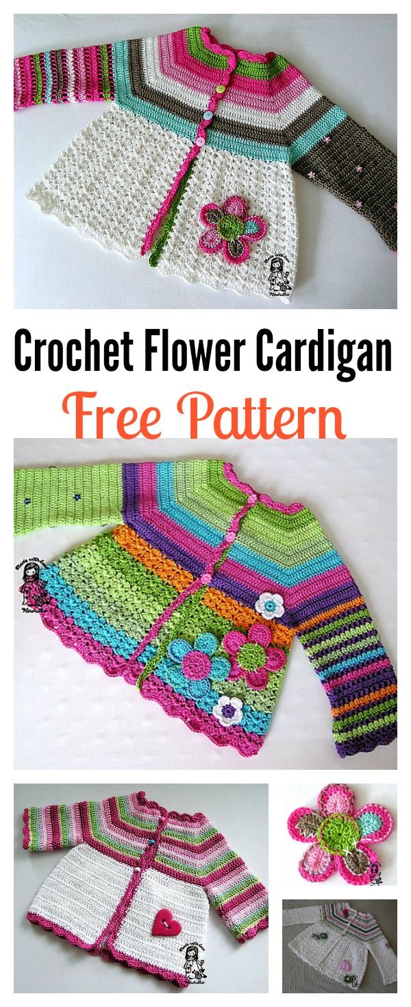 Crochet Flower Cardigan Sweater Free Pattern | Tejidos | Pinterest