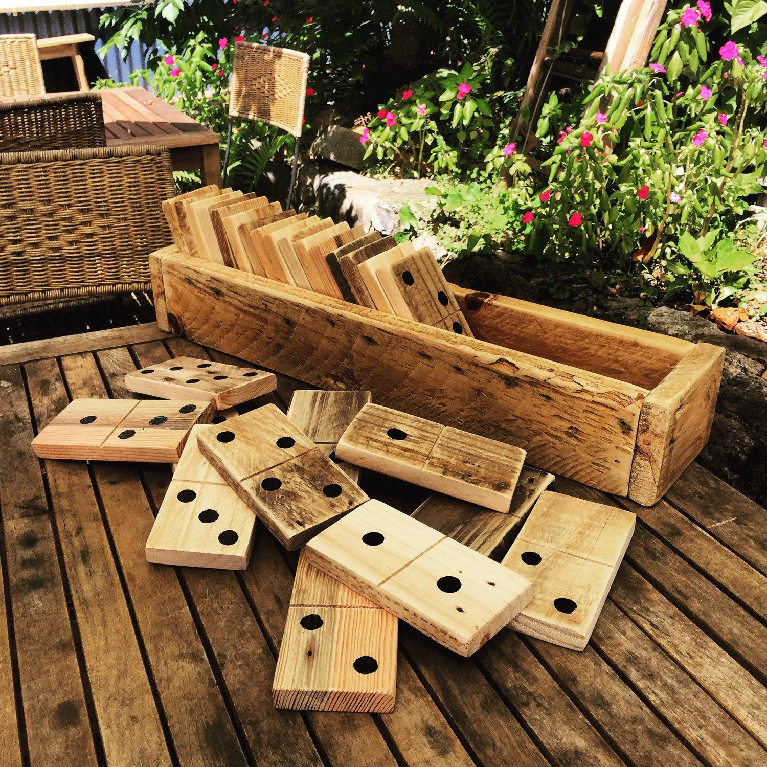 Large pallet dominoes in a sack pallets etsy and pallet for Pallet ideas for outside