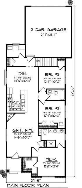 Plano de casa rectangular de 3 dormitorios planos para for Casa minimalista de 6 metros