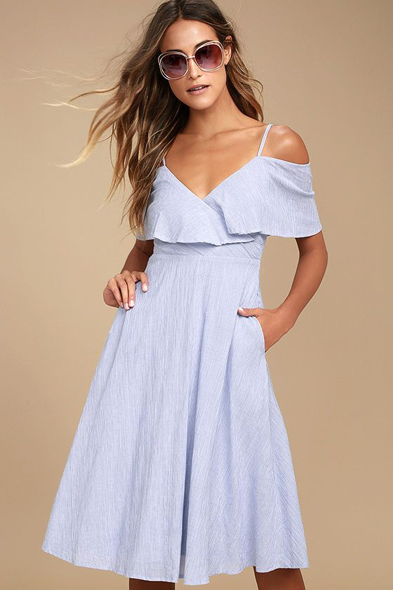 There is nothing but easy listening ahead in the Yacht Rock Blue and White  Striped Off-the-Shoulder Midi Dress! Lightweight woven cotton in a blue and  white ... 691d0a72f