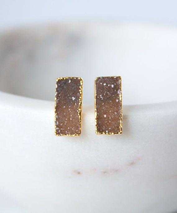 Photo of Zara Petite Druzy Bar Earrings Taupe | Dainty Druzy Stud Earrings | Delicate Druzy Studs | Small Nat