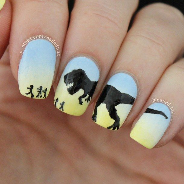 dinosaur, gradient, jurassic park, nail art, nail designs, nailed it ...