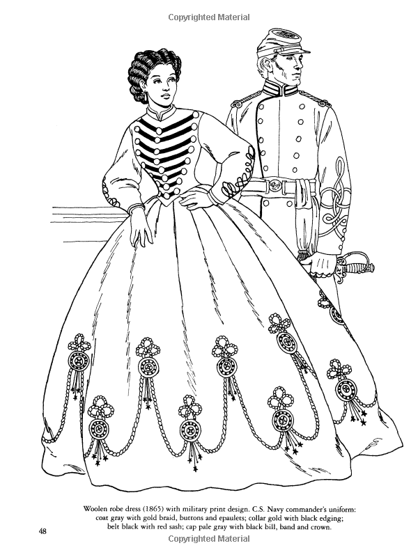 Civil War Fashions Coloring Book (Dover Fashion Coloring