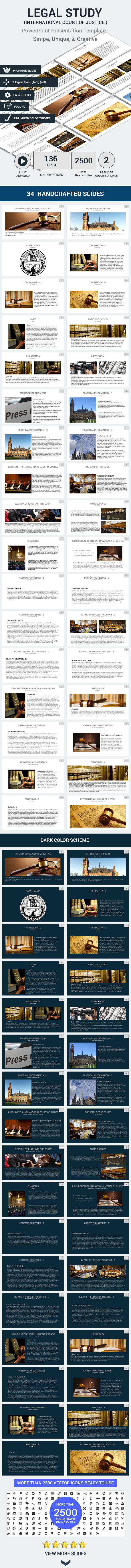 Legal Study International Court Of Justice Powerpoint Templates